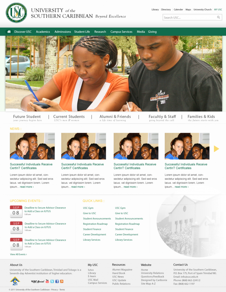 University Home page design to show case the University as an elegant yet fun filled institution of learning.