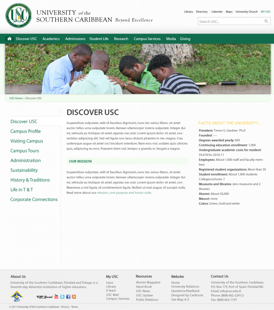 University Discover page: Design is structured to make information accessible to students and the public.