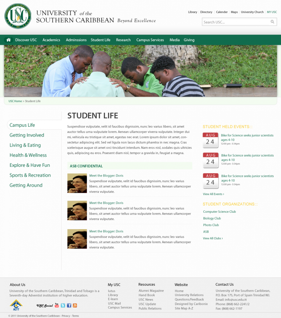 University Student Life: Page design is structured to deliver information in a meaningful way which students can understand.