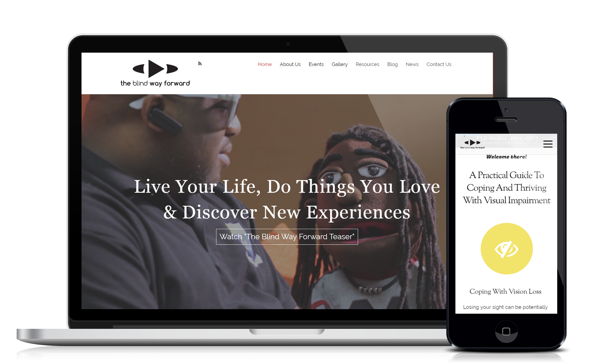 Website design and development service for customer Blindway Forward