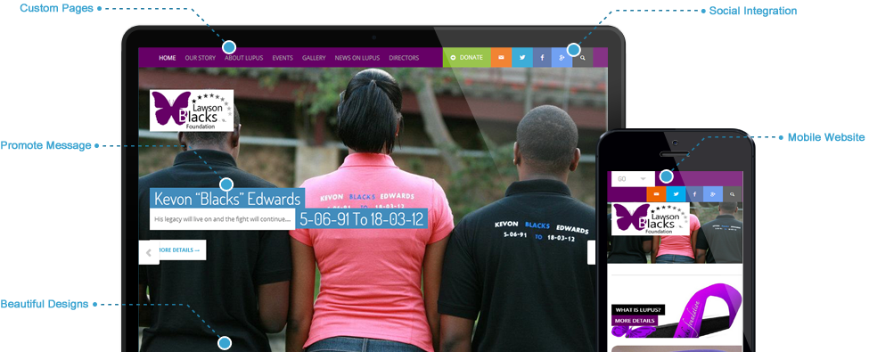 Beautiful mobile-ready website & online store Lawson Blacks Foundation