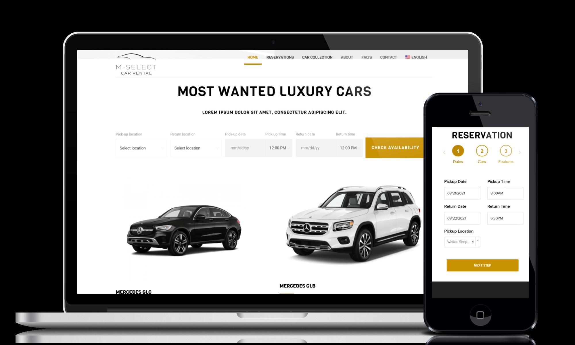 Car rental website design and development service for customer M-Select Rent A Car