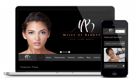Website design and development service for customer Miles of Beauty