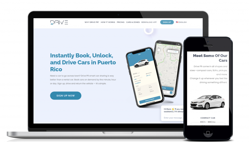 Car rental alternative car sharing website design and development service for customer Drive Puerto Rico