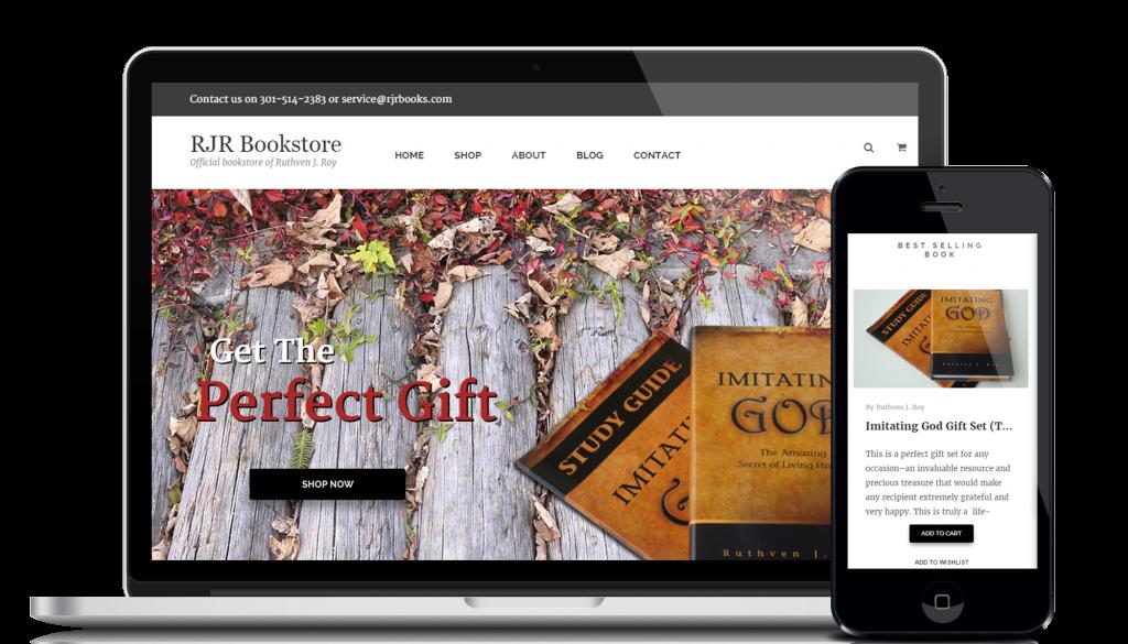 Website design and development service for customer RJRbooks
