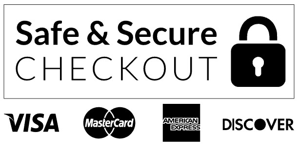 Safe and Secure Checkout with Visa, MasterCard, American Express and Discover