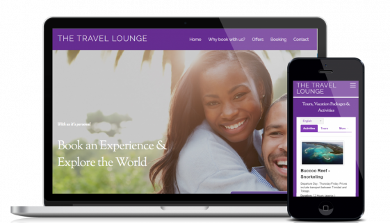Website design and development service for customer The Travel Lounge
