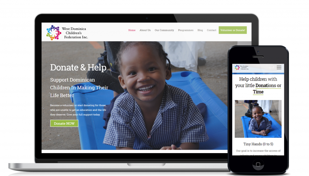 Website design and development service for customer West Dominica Children's Federation
